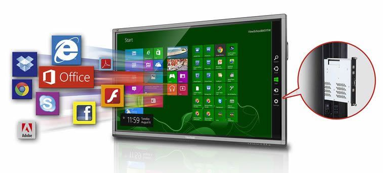 Optional slot-in PC with Windows 8 Pro (64 bit) OS and ViewBoard 2.0 whiteboard annotation