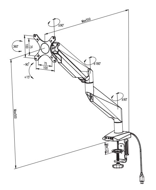 D7A Monitor arm diagram