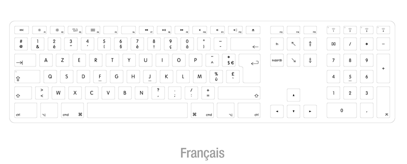 French layout backlit keyboard