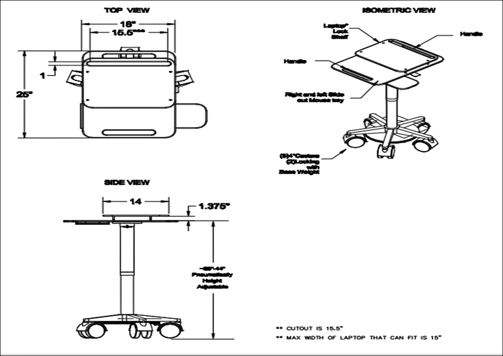 Laptop Desk Cart dimensions
