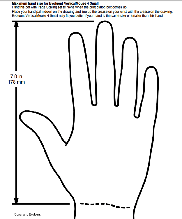 VerticalMouse hand chart