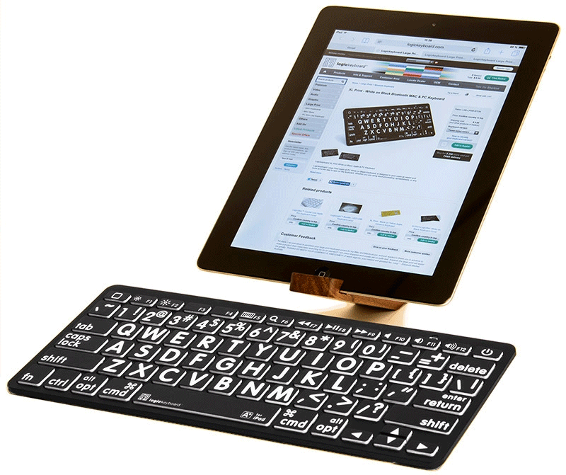 International English White on Black Bluetooth Mini Keyboard