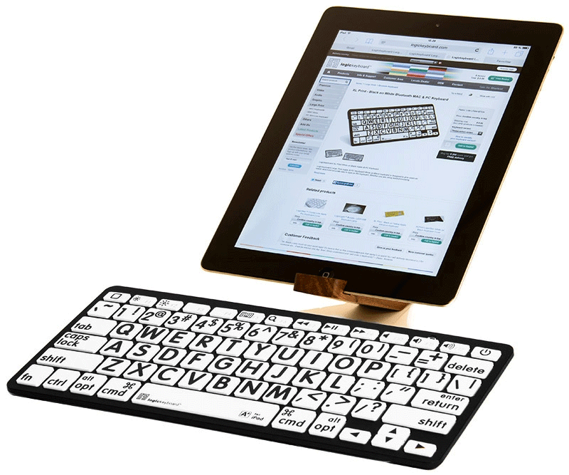 International English Black on White Bluetooth Mini Keyboard