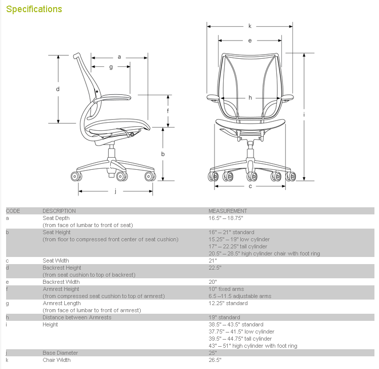 Liberty Chair Specifications