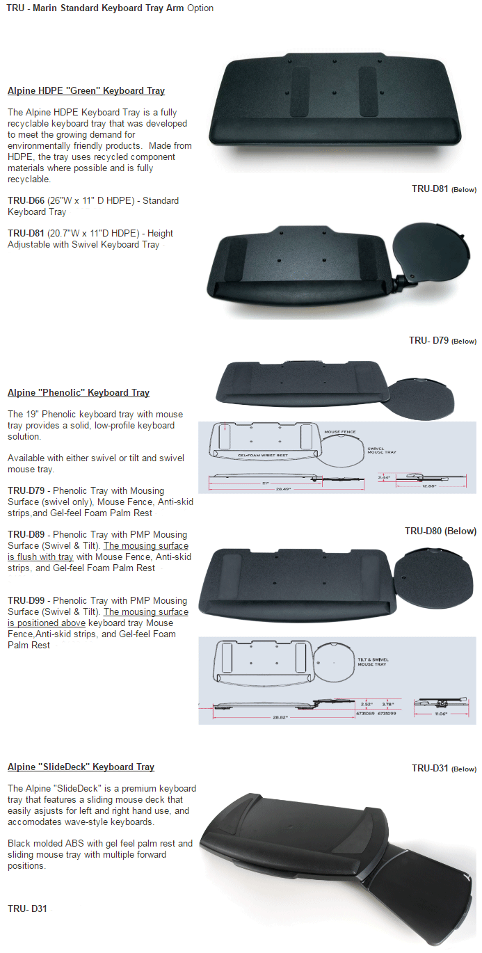 Marin Tray Options