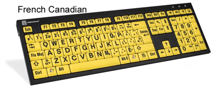 7-10 Part Logickeyboard XL Print nero Pc slim line yellow on black keyboard compatible with Windows XP LKBU-LPYB-BJPU-US Vista