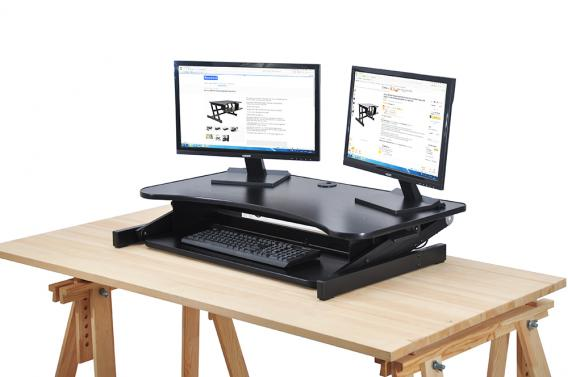 up height adjustable to c clamp arm stand desk screens two inch each mount for full product computer riser motion monitor dual huanuo installation with