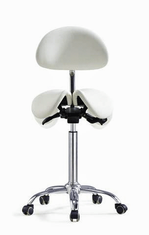 Divided Saddle Seat Stool With Backrest For Dental Hygienist