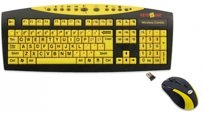 b108dee30ef Keys U See Wireless Yellow Keyboard with Mouse