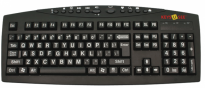 Large Print White letters on Black Keys Multimedia Keyboard