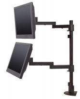 Long-reach articulating dual flat panel mount