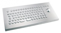 Stainless steel vandal keyboard with 38mm tackball