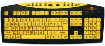 Large Print Black Letters on Yellow Keys Multimedia Keyboard