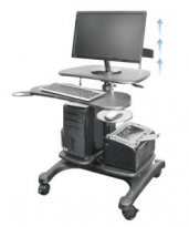 Mobile Height Adjustable Computer Workstation