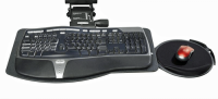 Sit-Stand Leverless Lift N' Lock Natural Keyboard Tray with with Mouse Platform & Viscoflex Circle Mouse Pad - KCS74533