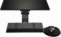 Sit-Stand Leverless Lift N' Lock Standard Keyboard Tray with Mouse Platform & Viscoflex Circle Mouse Pad - KCS74575