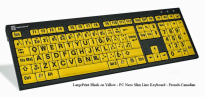 LargePrint Black on Yellow - PC Nero Slim Line Keyboard - French Canadian