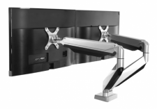 Aluminum Gas Spring Dual-Monitor Arm with USB Port