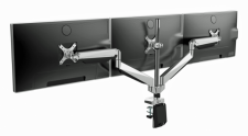 Aluminum Gas Spring Triple-Monitor Arm with USB Port