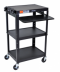 Adjustable Height Steel A/V Cart - Pullout Tray - AVJ42KB